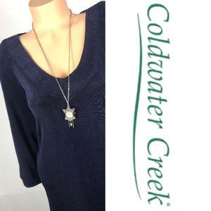 NEW Coldwater Creek Travel Knit Maxi Dress Blue 3X